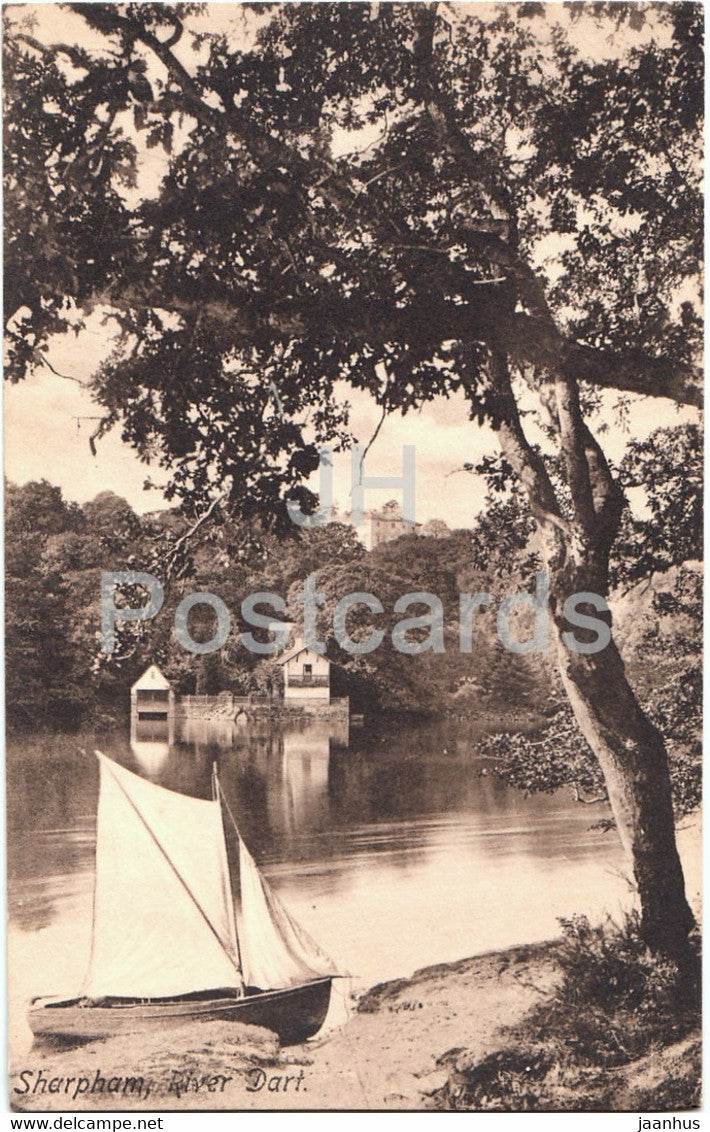 Sharpham - River Dart - boat - 21619 - old postcard - England - United Kingdom - unused - JH Postcards