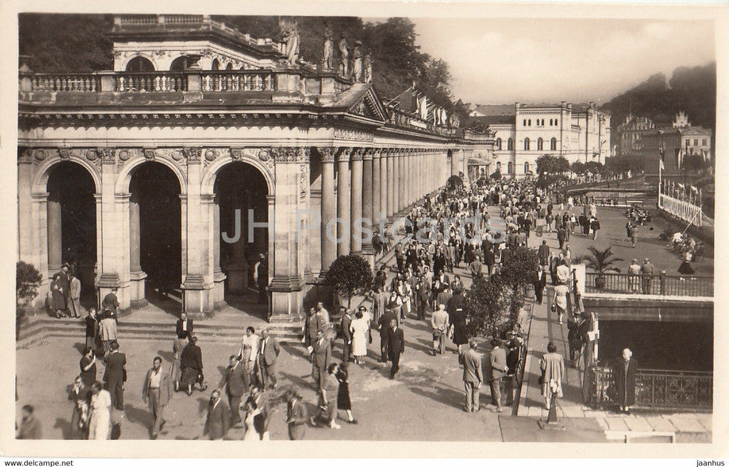 Karlovy Vary - Karlsbad - kolonada - Colonnade - 593 - old postcard - Czechoslovakia - Czech Republic - unused - JH Postcards