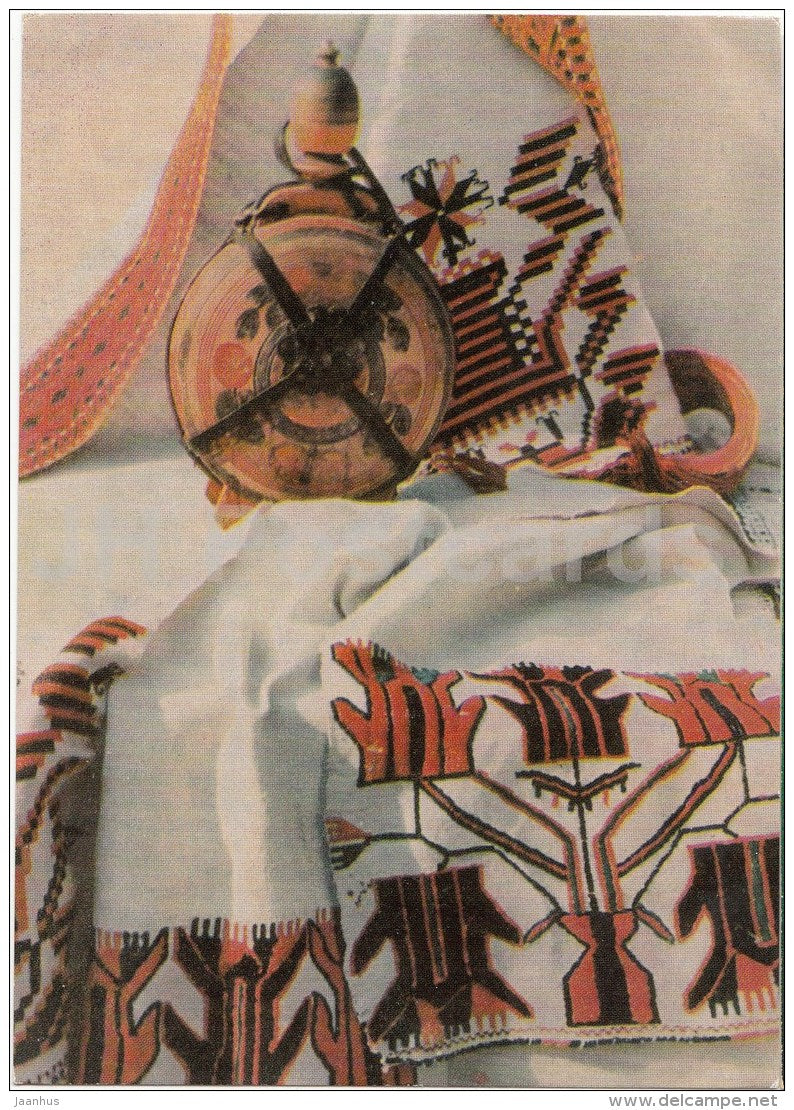 Moldova Folk Art - textile - bottle - 1968 - Moldova USSR - unused - JH Postcards