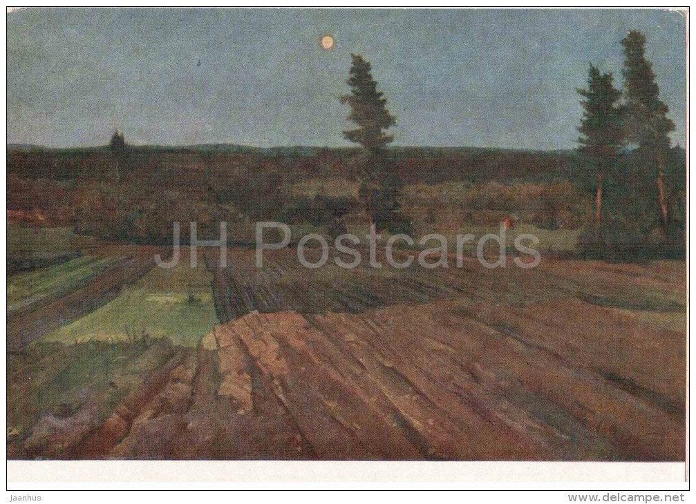 painting by V. Tsvirko - Evening - landscape - belarus art - unused - JH Postcards