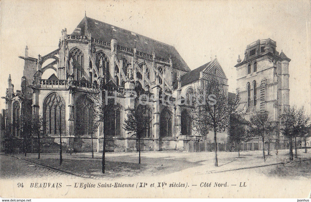 Beauvais - L'Eglise Saint Etienne - Cote Nord - church - 94 - old postcard - 1923 - France - used - JH Postcards