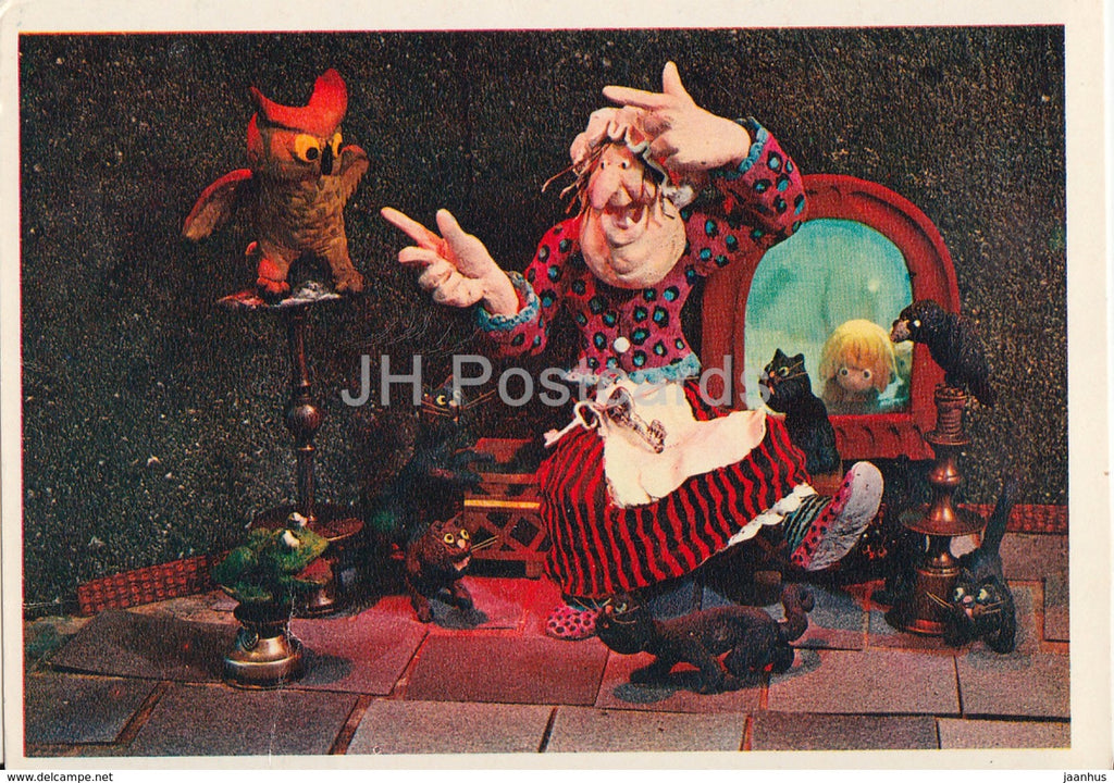Hansel and Gretel by Brothers Grimm - owl - cats - dolls - Fairy Tale - 1975 - Russia USSR - unused - JH Postcards