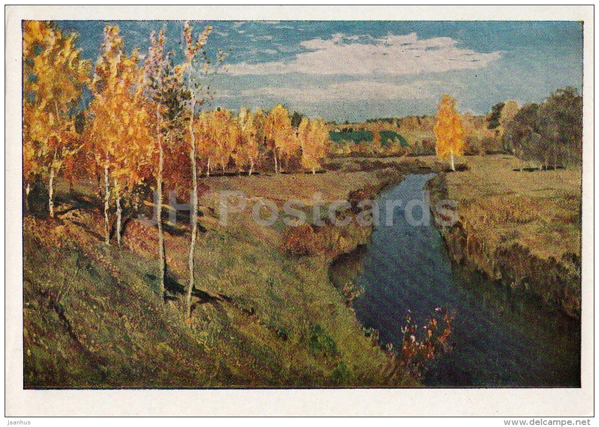 painting by I. Levitan - 1 - Golden Autumn , 1895 - river - Russian art - 1961 - Russia USSR - unused - JH Postcards