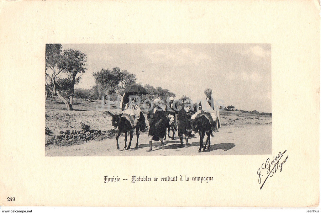 Tunisie - Notables se rendant a la campagne - 249 - old postcard - 1908 - Tunisia - used - JH Postcards