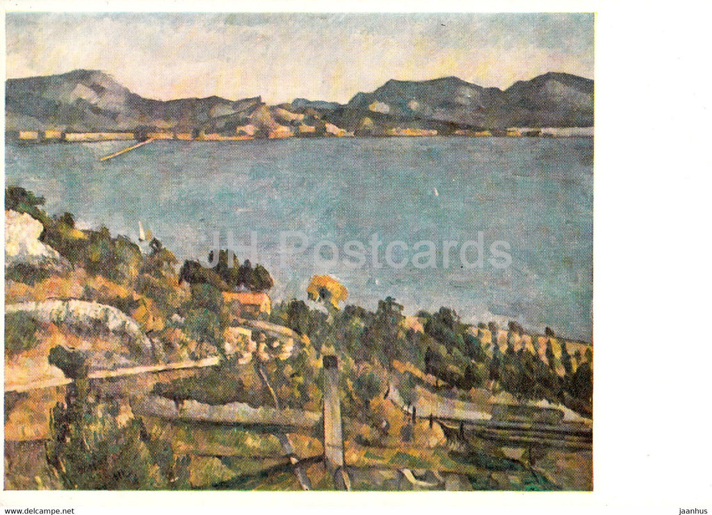 painting by Paul Cezanne - Der Golf von Marseille von der Bucht von L'Estaque aus - French art - Germany DDR - unused - JH Postcards