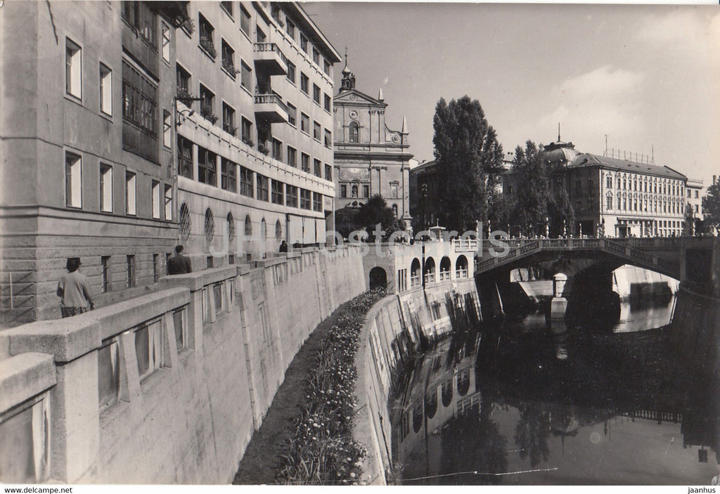 Ljubljana - City view - river - 2506 - 1960 - Yugoslavia - Slovenia - used - JH Postcards