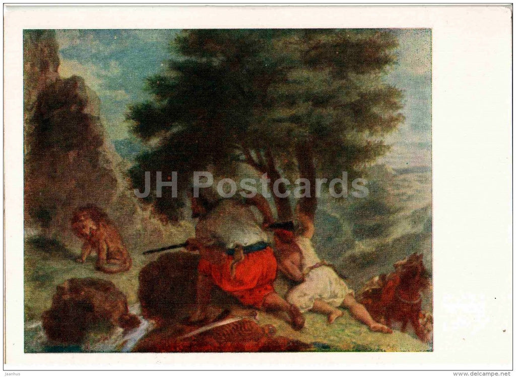 painting by Eugene Delacroix - Lion Hunt in Morocco - French art - 1959 - Russia USSR - unused - JH Postcards