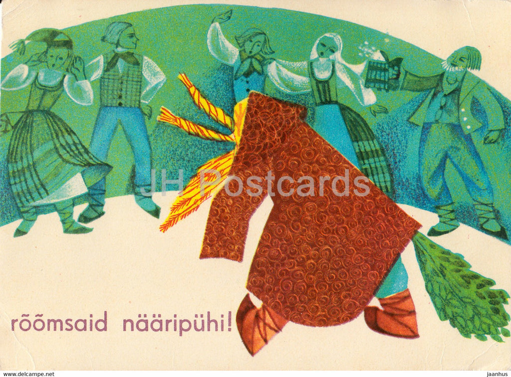 New Year Greeting Card by I. Sampu Raudsepp - folk costumes - Yule goat - 1 - 1968 - Estonia USSR - used - JH Postcards