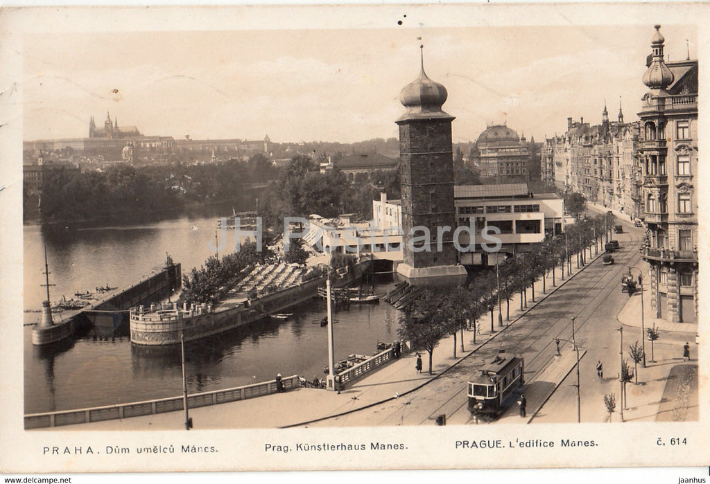 Praha - Prague - Dum umelcu Manes - Kunstlerhaus - tram - 614 - old postcard - 1935 - Czech Republic - used - JH Postcards