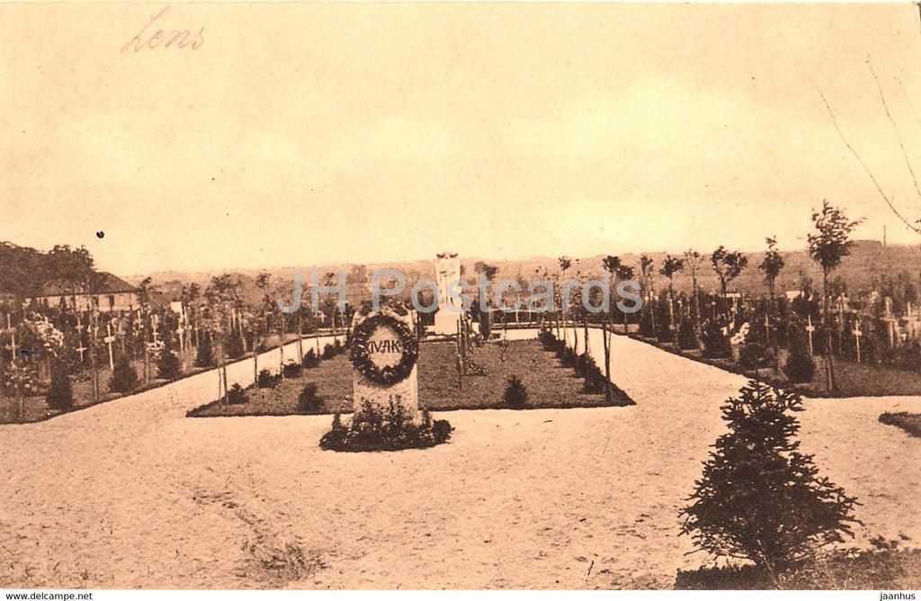 Off Postkarte z Gunsten d Hinterblieb - Korpsfriedhof Lens - Haupansicht - Feldpostkarte old postcard - France - unused - JH Postcards
