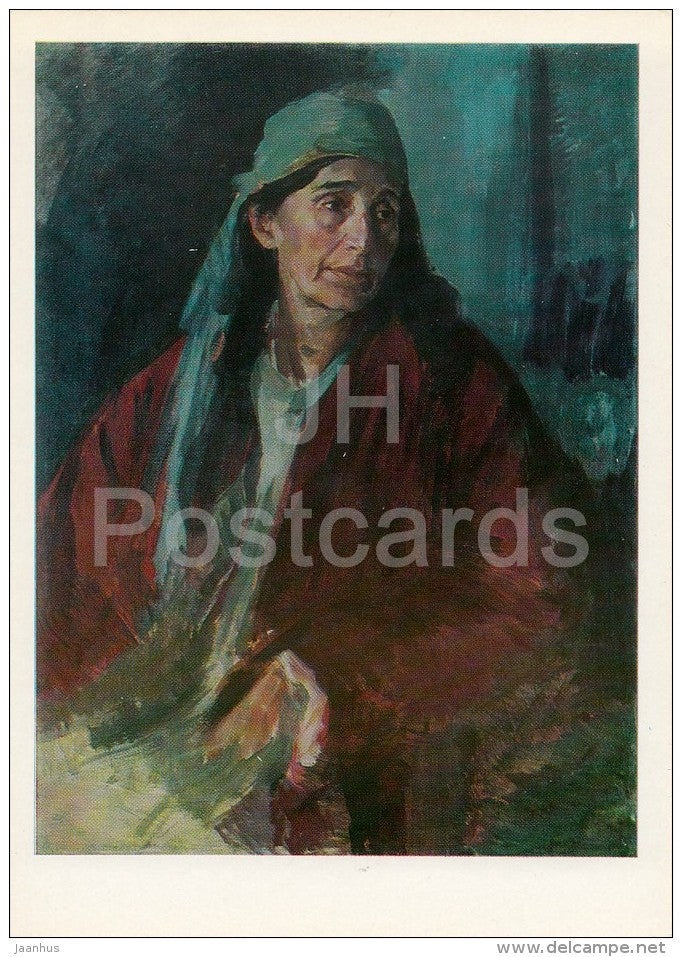 painting by Pavel Benkov - Mother of a Hero , 1942 - Uzbekistan Art - 1974 - Russia USSR - unused - JH Postcards