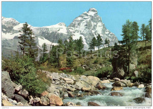 Valle d´Aosta - Aosta Valley - Matterhorn - M. Cervino - Italia - Italy - sent from Italy Cervinia to Germany - JH Postcards