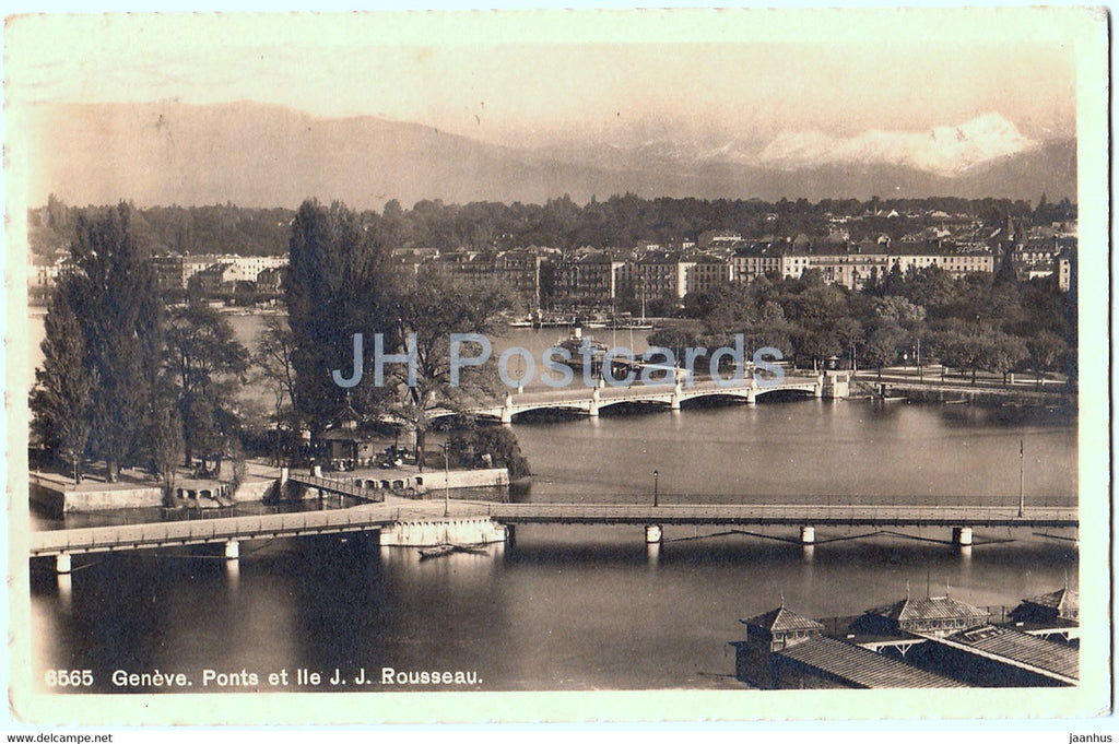 Geneve - Geneva - Ponts et Ile J J Rousseau - 6565 - old postcard - 1915 - Switzerland - used - JH Postcards