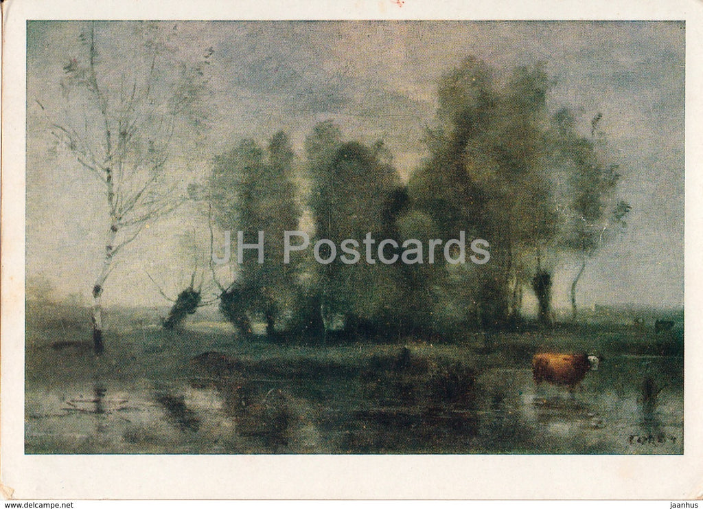 painting by Camille Corot - Landscape with a Cow - French art - 1962 - Russia USSR - unused - JH Postcards