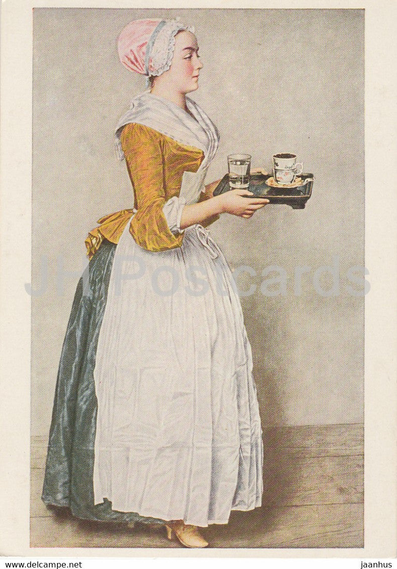 painting by Jean Etienne Liotard - Das Schokoladenmadchen - French art - Germany - unused - JH Postcards