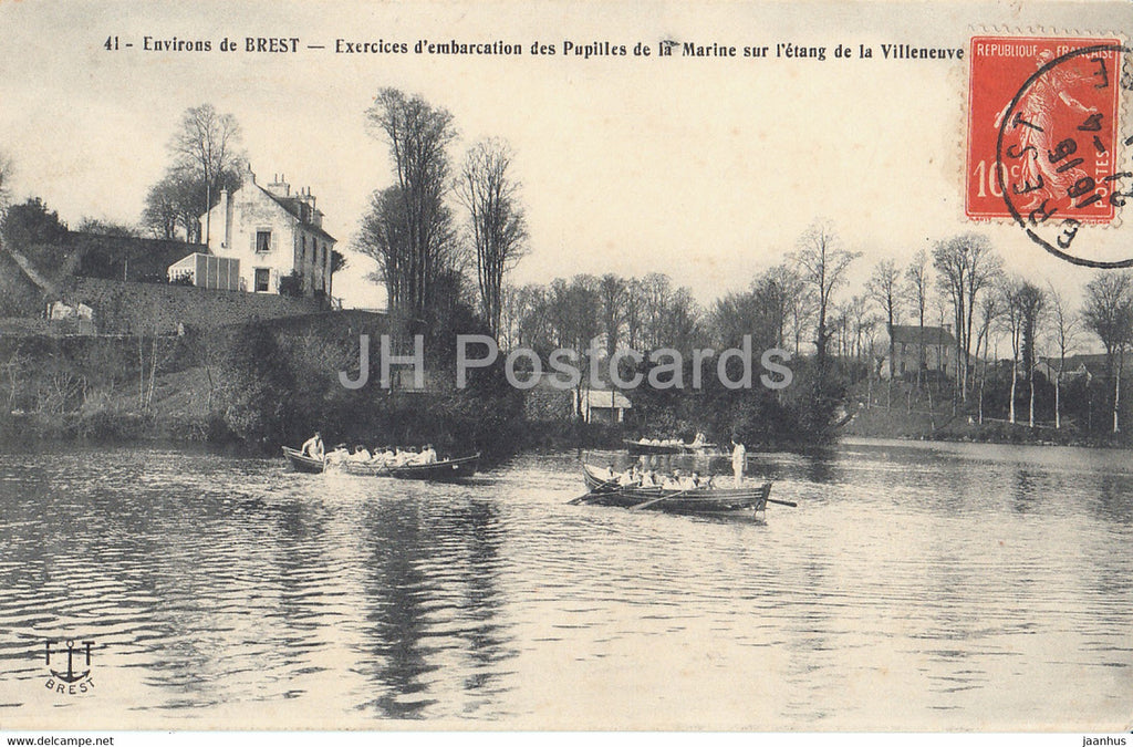 Environs de Brest - Exercices d'embarcation des Pupilles de la Marine - boat - 41 - old postcard - France - used - JH Postcards