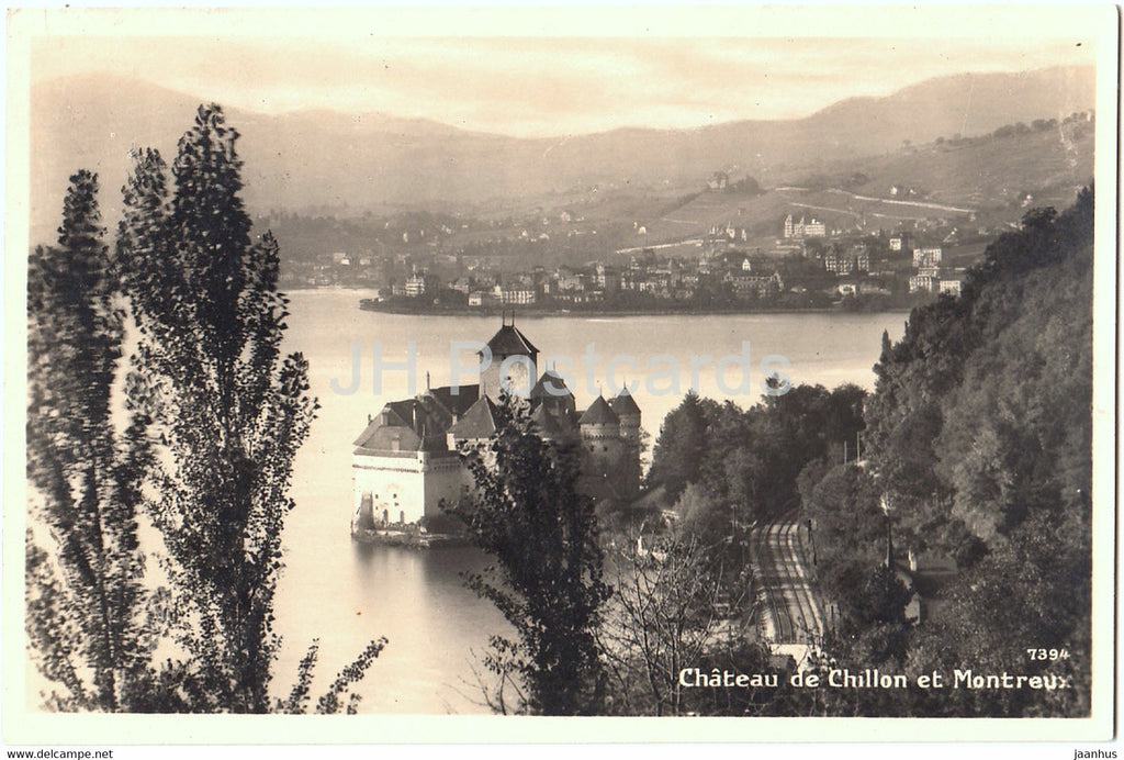 Chateau de Chillon et Montreux - 7394 - old postcard - 1926 - Switzerland - used - JH Postcards