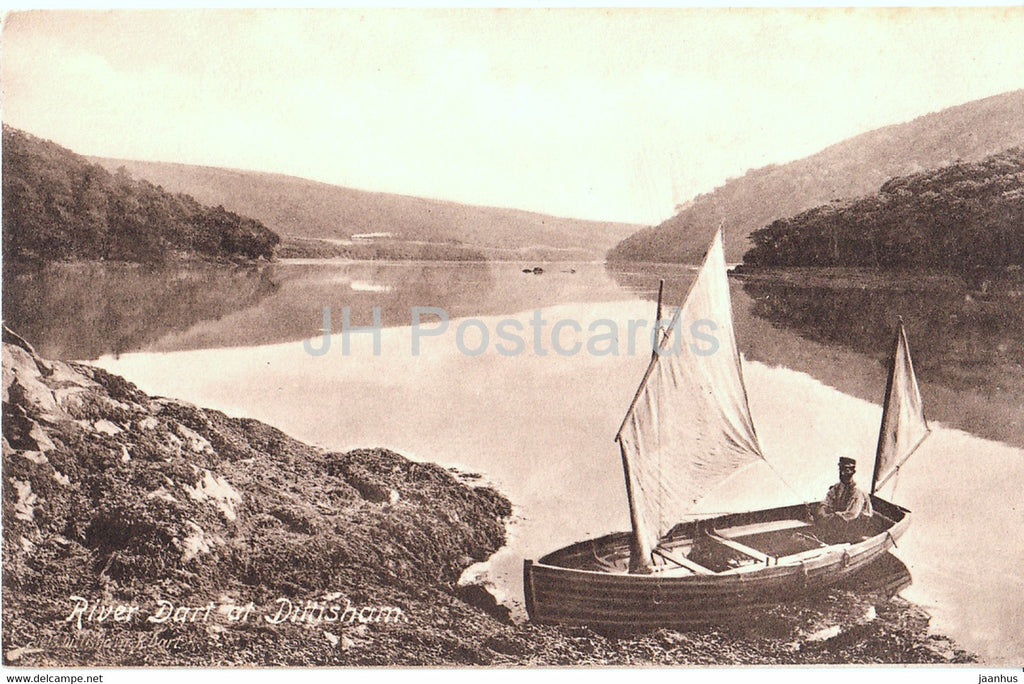 River Dart at Dittisham - sailing boat - 21613 - old postcard - England - United Kingdom - unused - JH Postcards