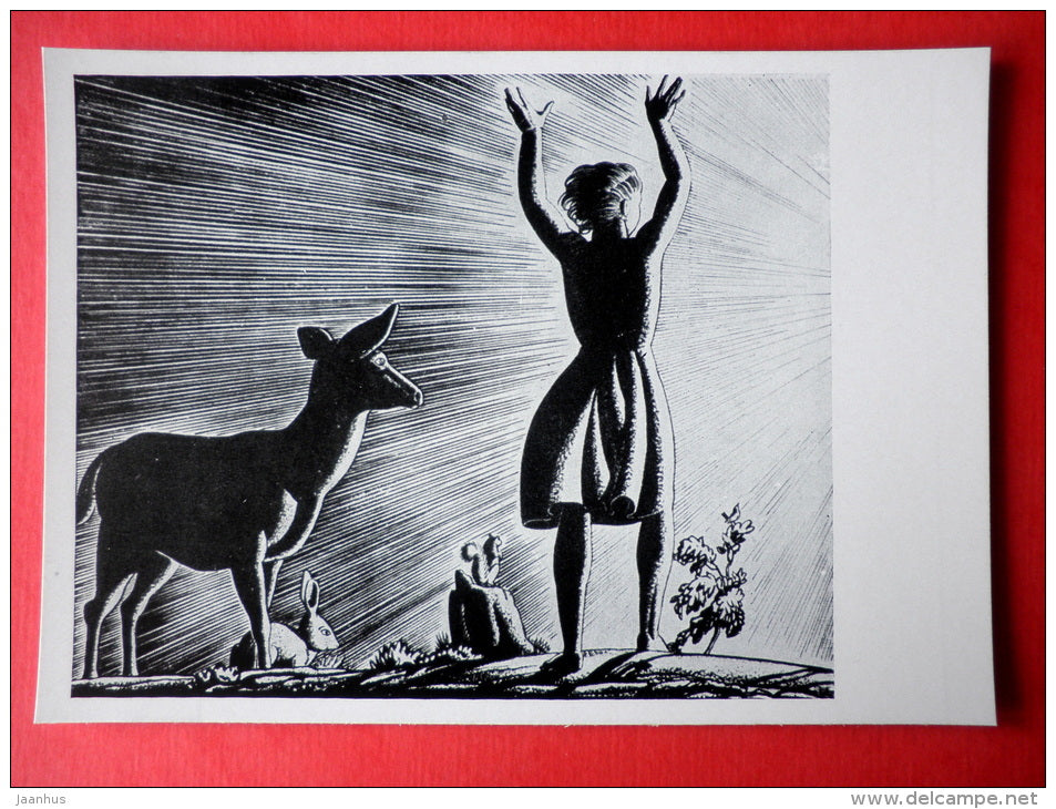 illustration by Rockwell Kent - This is My Own by Rockwell Kent . 1940 - deer - hare - girl - art of USA - unused - JH Postcards