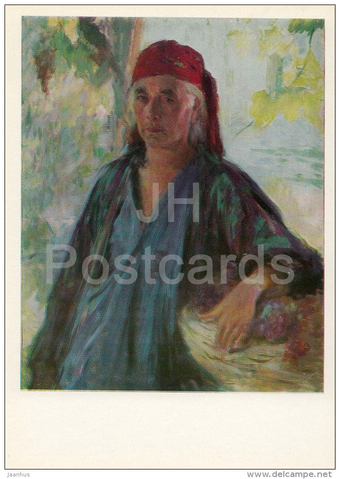 painting by Pavel Benkov - A Woman Collective-farmer , 1947 - Uzbekistan Art - 1974 - Russia USSR - unused - JH Postcards
