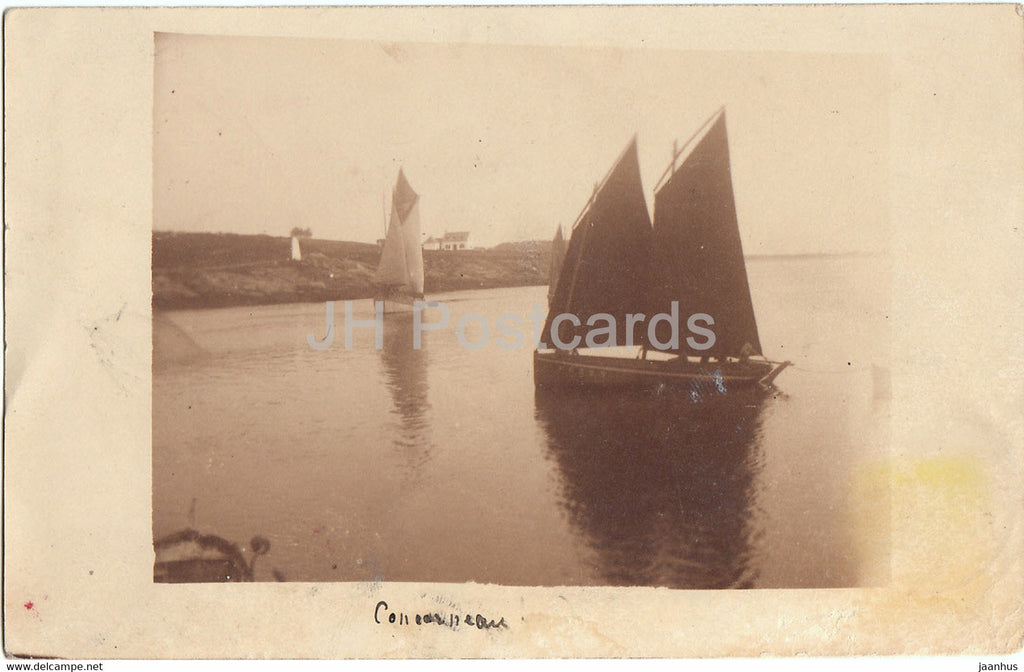 Concarneau - sailing boat - old postcard - France - used - JH Postcards
