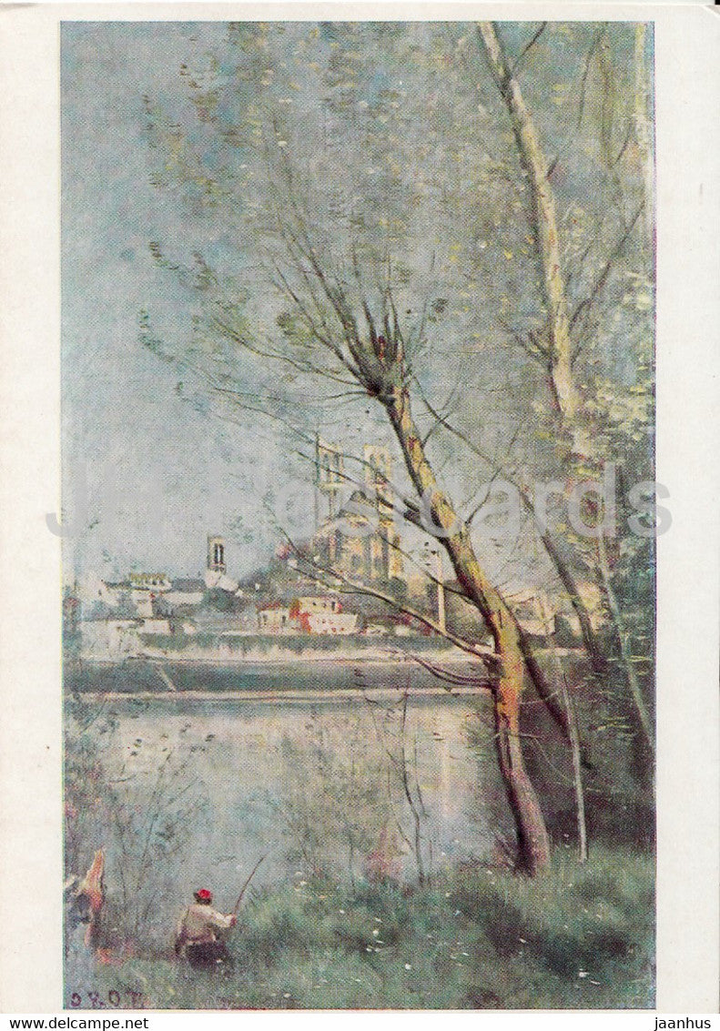 painting by Jean Baptiste Camille Corot - Stiftskirche Mantes - French art - 1969 - Germany - unused - JH Postcards