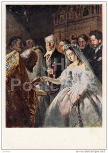 painting by V. Pukirev - 1 - Unequal Marriage , 1862 - Russian art - Russia USSR - 1960 - unused - JH Postcards