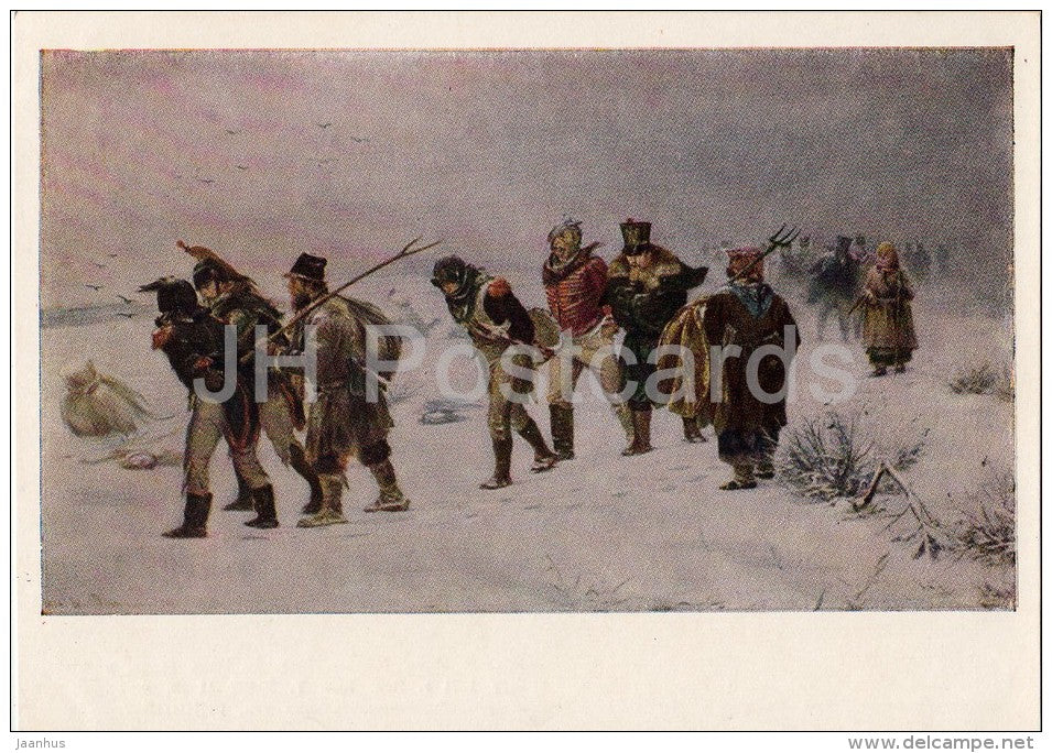 painting by I. Pryanishnikov - Episode from the War of 1812 - prisoners - Russian art - Russia USSR - 1953 - unused - JH Postcards