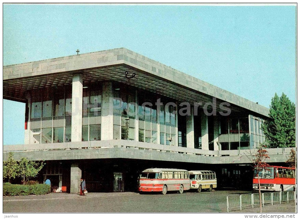 bus station - bus Ikarus , LAZ - Tbilisi - 1980 - postal stationery - AVIA - Georgia USSR - unused - JH Postcards