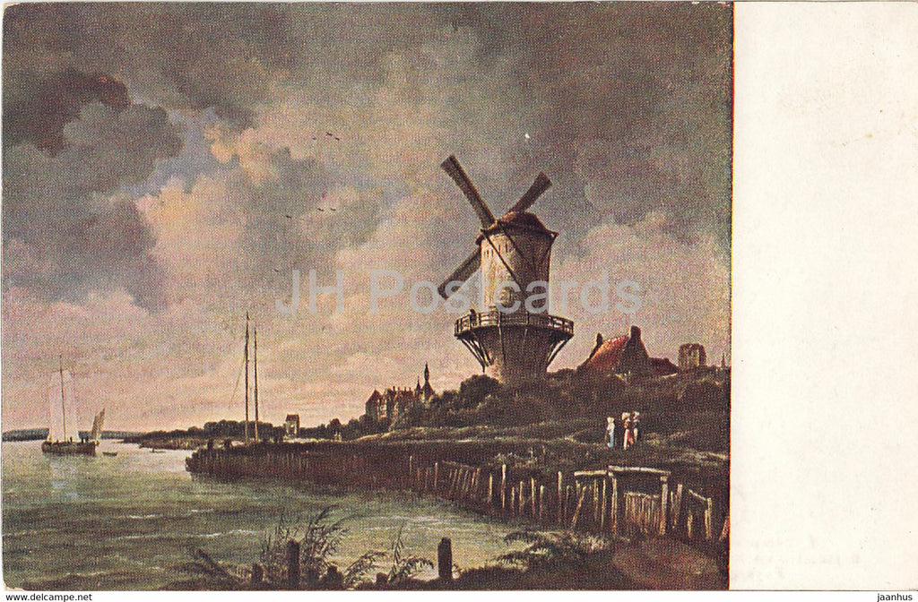 painting by Ruysdael - Flusslandschaft - Paysage de fleuve - windmill - old postcard - Dutch art - Netherlands - used - JH Postcards