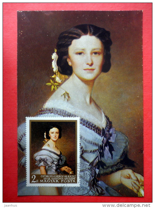 Maximum Card - painting by Gyorgyi Alajos , Portrait of Sidonie Deak - 1967 - Hungary - unused - JH Postcards