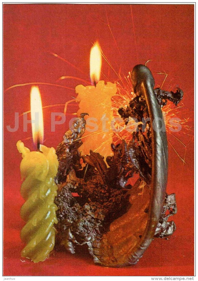 New Year Greeting Card - candle - 1 - 1987 - Estonia USSR - used - JH Postcards