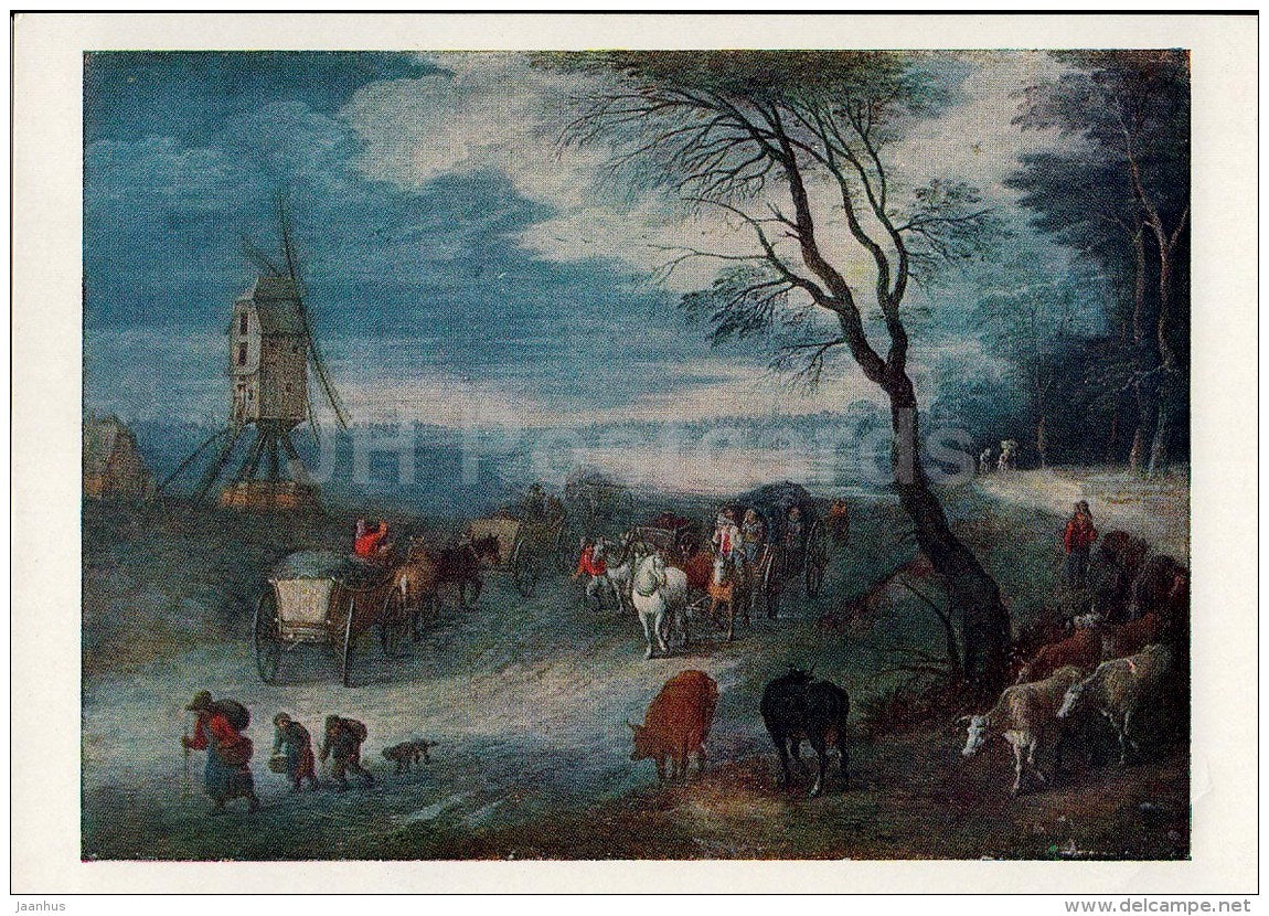 painting by Jan Brueghel the Elder - Landscape - windmill - French Art - 1963 - Russia USSR - unused - JH Postcards