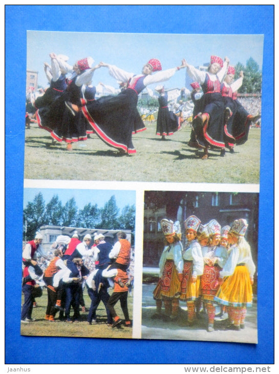 Estonian folk dancers 4 - folk costumes - dance festival - large format card - 1975 - Estonia USSR - unused - JH Postcards