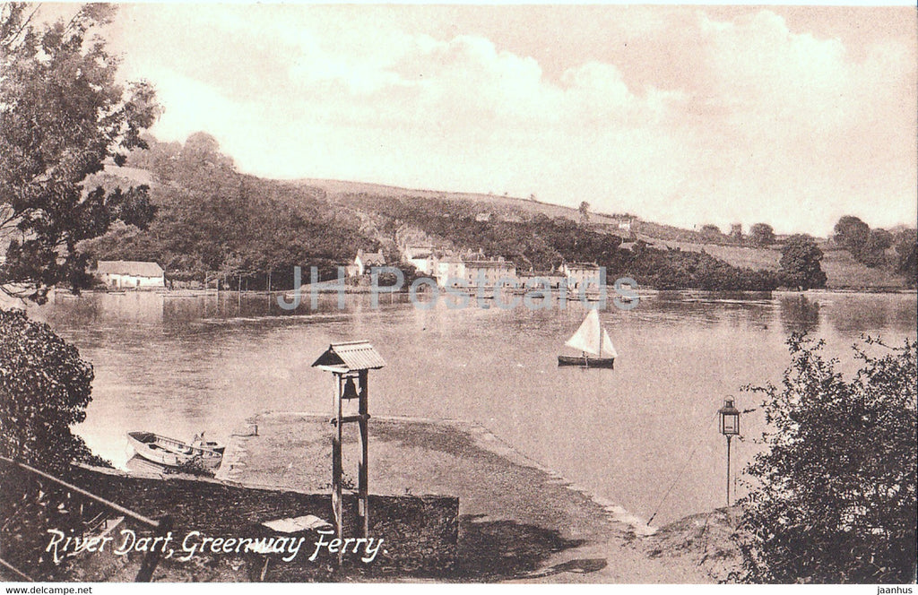 River Dart - Greenway Ferry - sailing boat - old postcard - England - United Kingdom - unused - JH Postcards