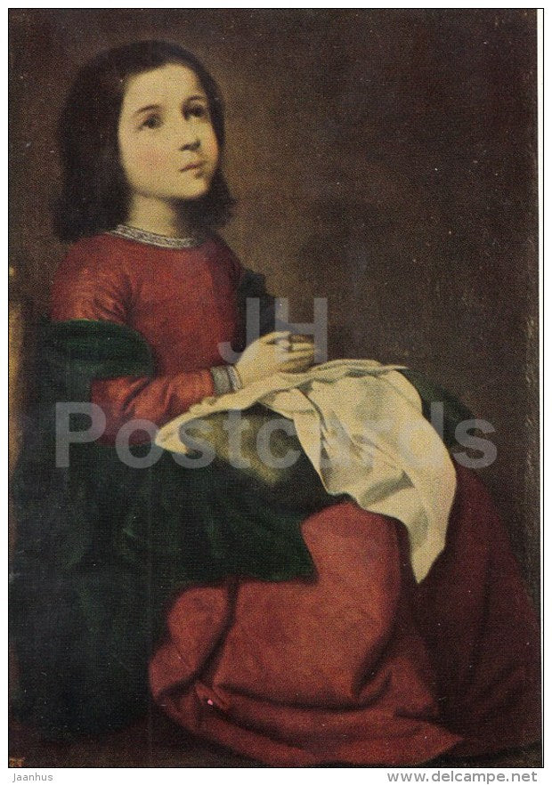 painting by Francisco de Zurbaran - Adolescence of the Madonna - Spanish Art - 1963 - Russia USSR - unused - JH Postcards
