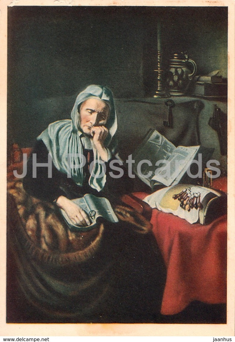 painting by Nicolaes Maes -  Il Sogno Della Nonna - Grandmother's Dream - Dutch art - Italy - unused - JH Postcards
