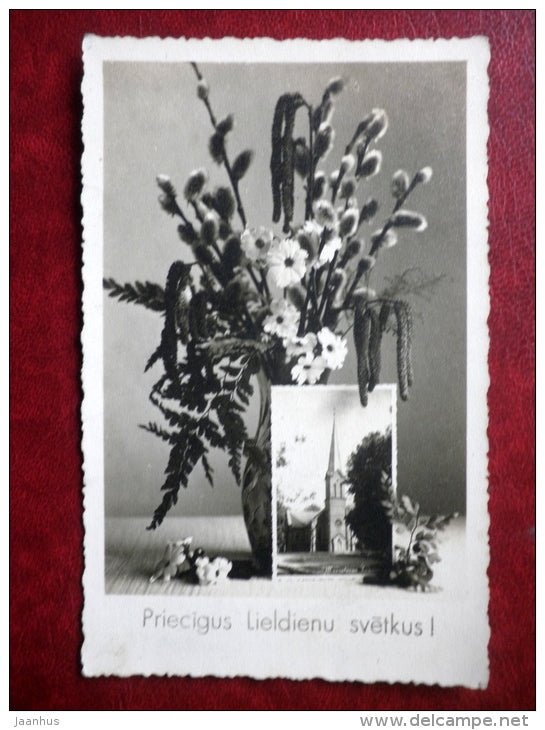 Easter Greeting card - church - flowers - circulated in 1946 -  Latvia  - used - JH Postcards