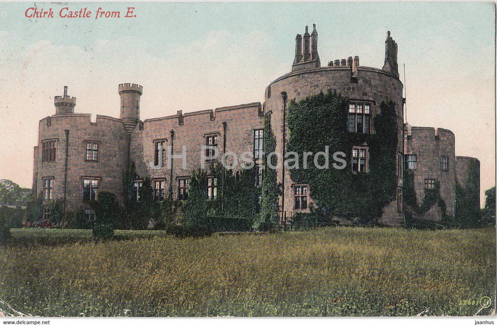 Chirk Castle from E - old postcard - 1910 - Wales - United Kingdom - used - JH Postcards