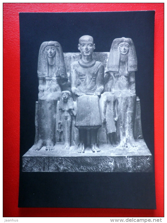 Priest Ptah-mai with his wife and daughters - Sculptures of Ancient Egypt - old postcard - Germany DDR - unused - JH Postcards