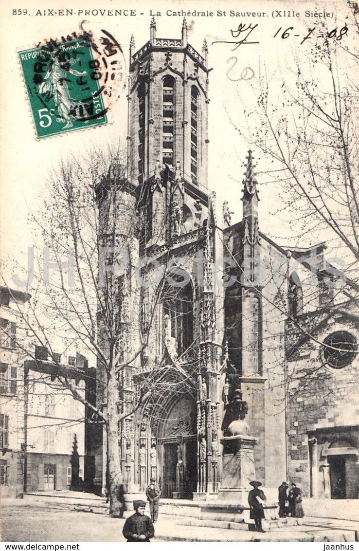 Aix En Provence - La Cathedrale St Sauveur - cathedral - 859 - old postcard - 1908 - France - used - JH Postcards
