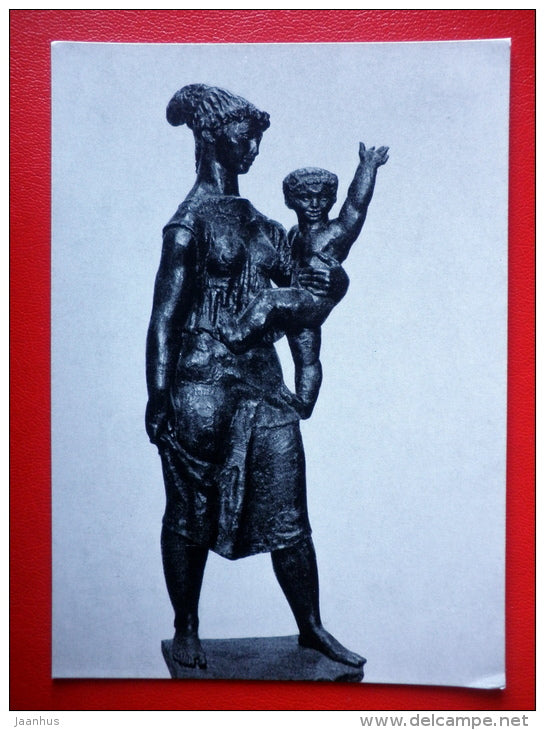 sculpture by I. Kerenyi . Mother with Child - hungarian art - unused - JH Postcards