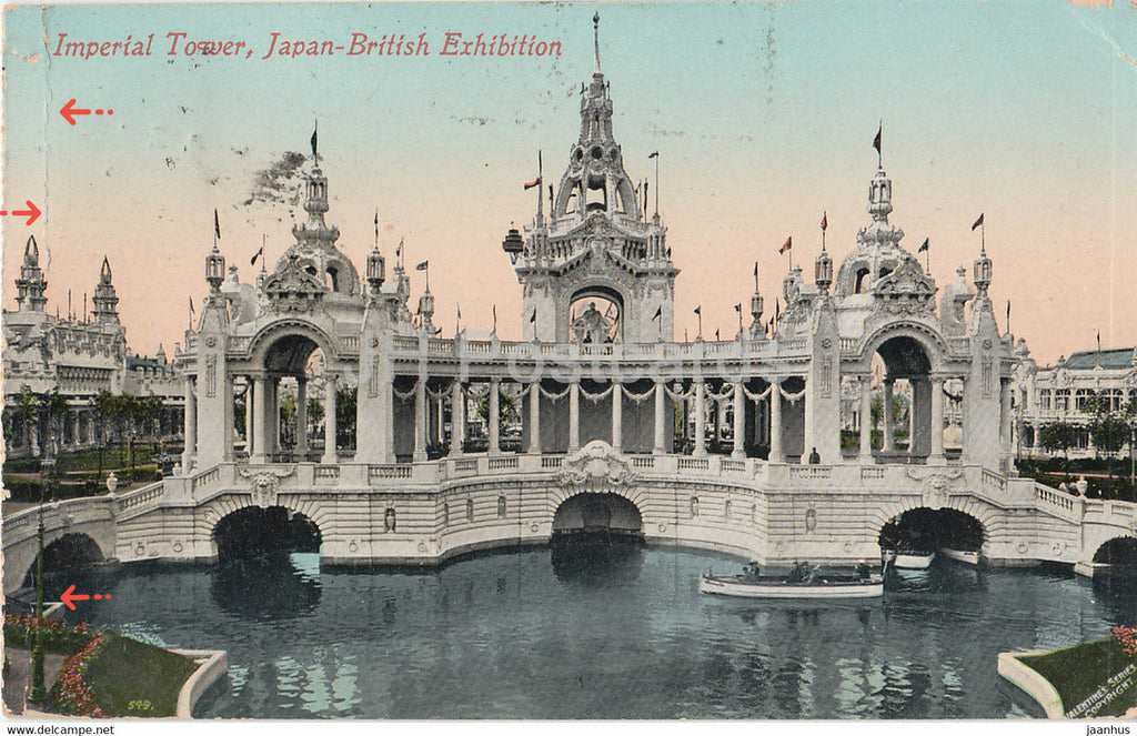 London - Imperial Tower - Japan British Exhibition - old postcard - 1910 - England - United Kingdom - used - JH Postcards