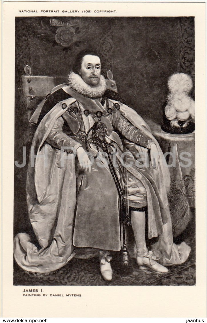 Painting by Daniel Mytens - King James I - National Portrait Gallery - english art - United Kingdom - England - used - JH Postcards
