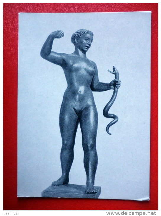 sculpture by I. Mikus . Woman with a Snake - hungarian art - unused - JH Postcards