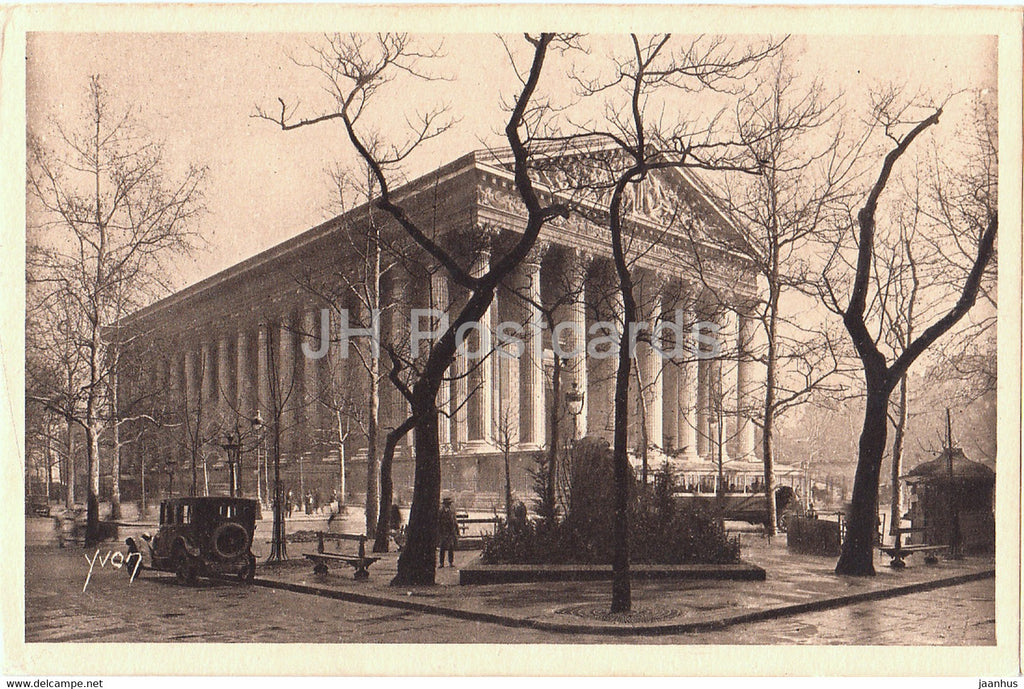Paris - Eglise de la Madeleine - Magdalene Church - old car - old postcard - France - unused - JH Postcards