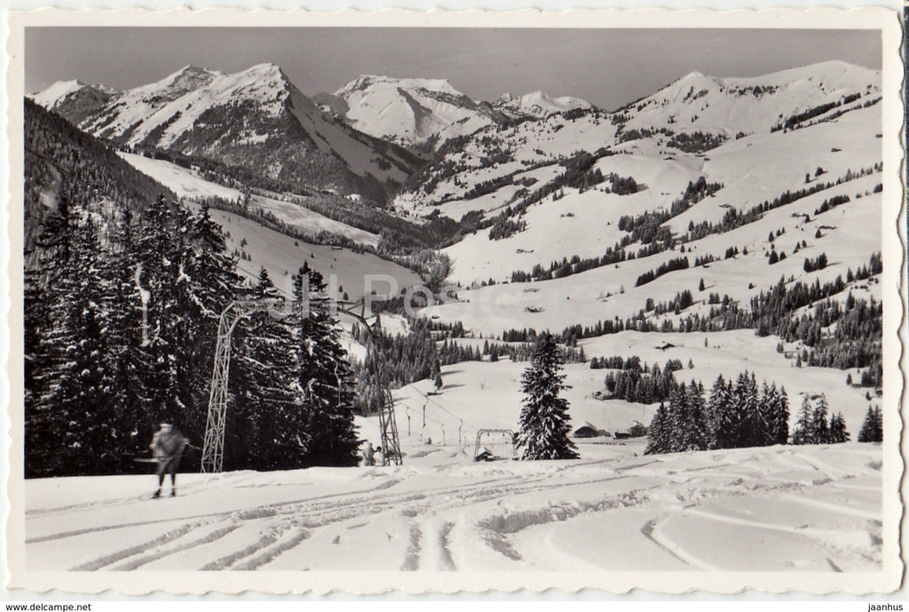 La Lecherette 1380 m - Arrivee du teleski - ski resort - alpine skiing - Switzerland - 1961 - used - JH Postcards
