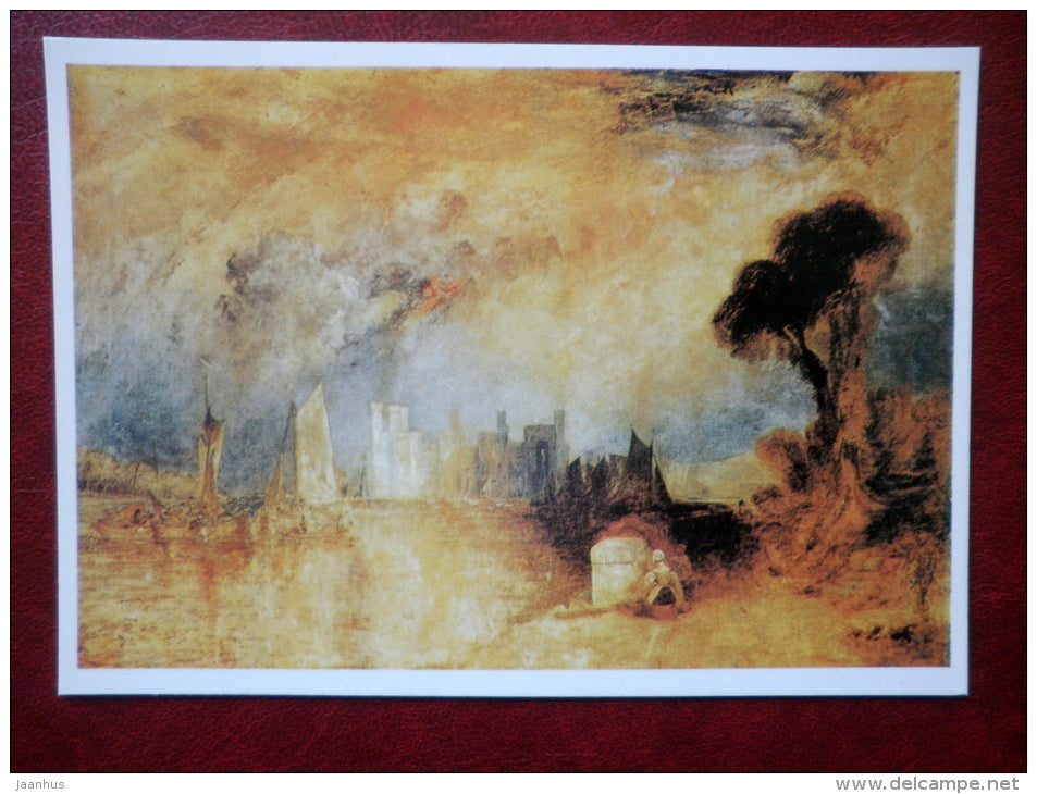 painting by J. M. W. Turner - Caernarfon Castle - english art - unused - JH Postcards