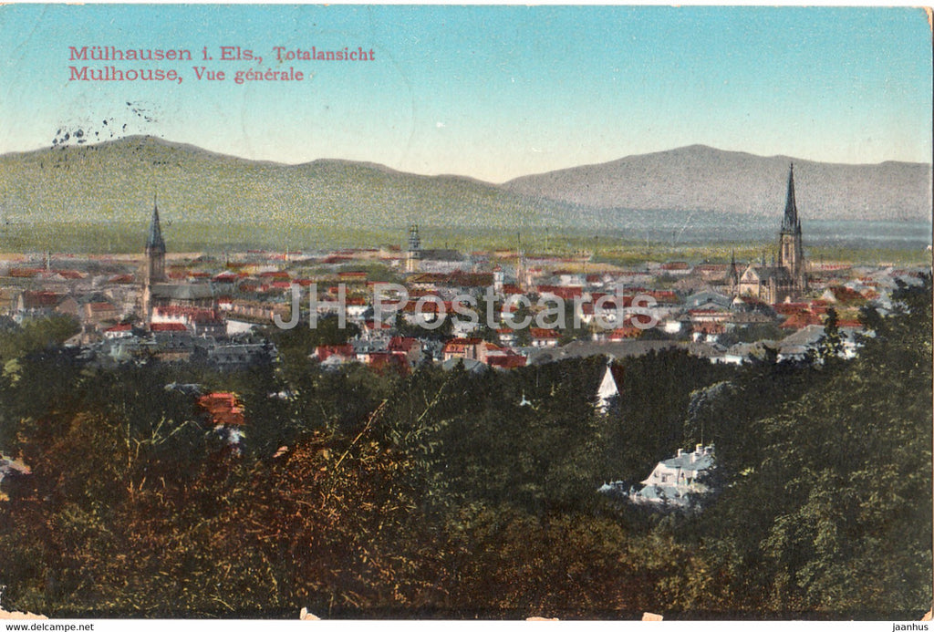 Mulhausen i Els - Mulhouse - Totalansicht - Vue Generale - old postcard - 1911 - France - used - JH Postcards