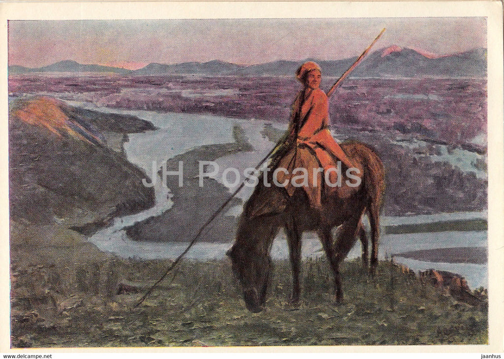 painting by A. Stroganov - The Last Ray - horse - Mongolian art - 1966 - Russia USSR - unused - JH Postcards